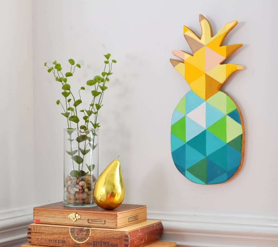Diy painted geometric pineapple made in a day for Art and craft for wall decoration