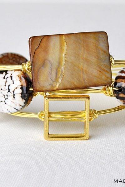 Stone Wire Wrapped Bangle Bracelets
