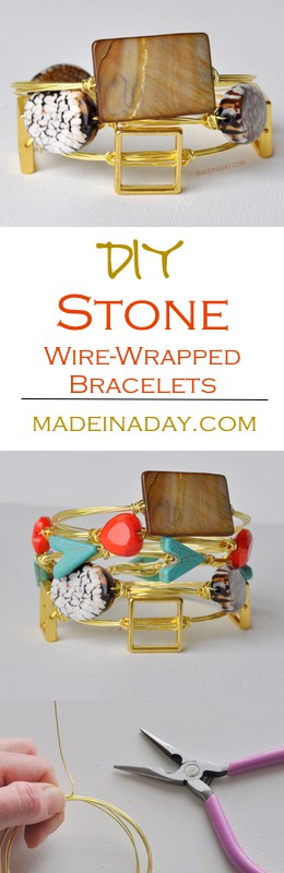 Learn to make these gorgeous and trendy Wire Wrapped Stone Bracelets on madeinaday.com!