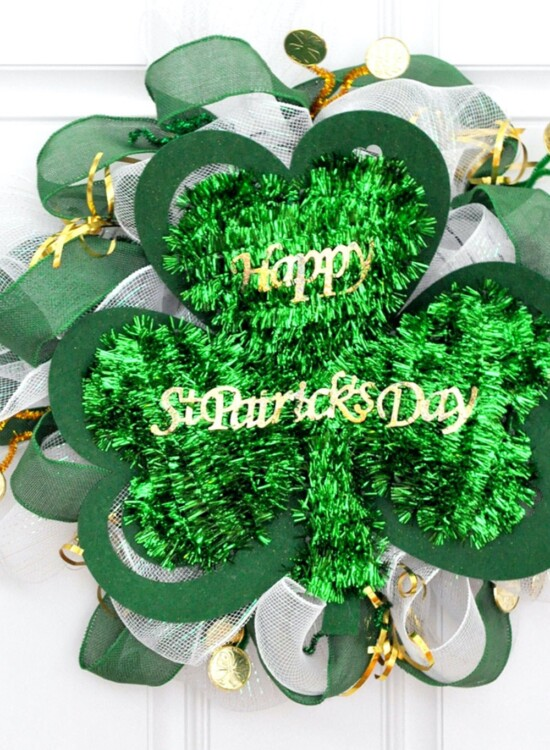 St Patricks Day Dollar Store Mesh Wreath 34