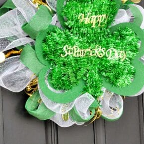 St Patricks Day Dollar Store Mesh Wreath 1