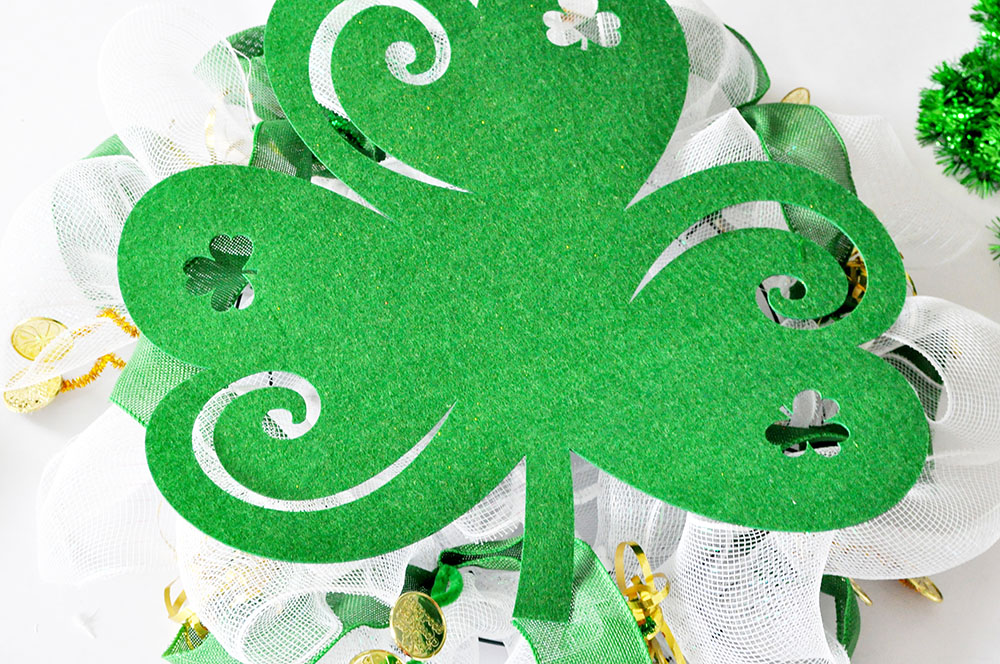 Shamrock Clover Mesh Wreath