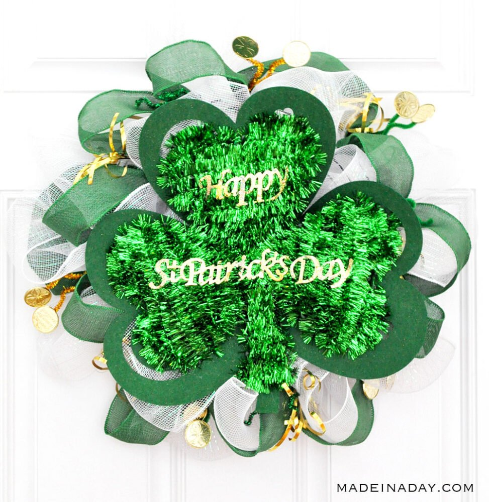Deco Mesh St Patricks Day Wreath, St Patricks Day Dollar Store Mesh Wreath, Shamrock Mesh Wreath