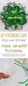 St Patricks Day Dollar Store Mesh Wreath 1
