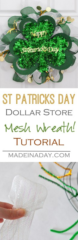St Patrick's Day Wreath, Dollar Store Mesh Wreath Tutorial, use dollar store items to make a cute St. Patrick's Day Wreath for budget