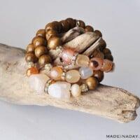 DIY Wood & Stone Bead Bracelets