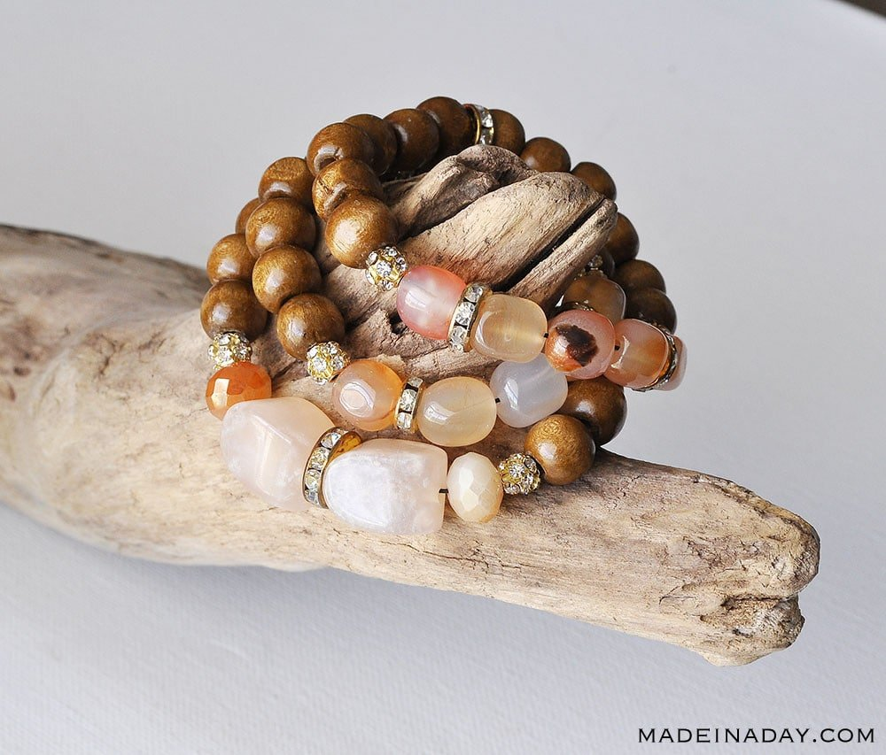 DIY Wood & Stone Bead Bracelets