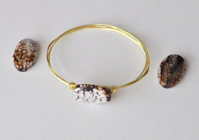 tree stone wire bracelet