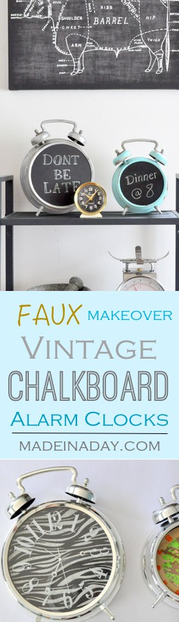 Alarm Clock Makeover to Vintage Chalkboard~ Transform an inexpensive alarm clock into a faux painted vintage chalkboard for your home decor. Faux patina, galvanized metal look, tarnished metal, conversation piece.