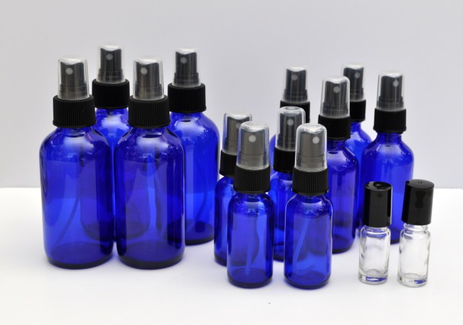 Blue Essential Oil Bottles madeinaday.com