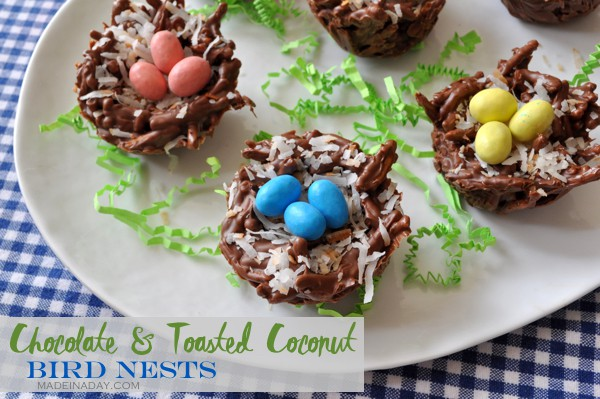 Chocolate Toasted Coconut Bird Nests madeinaday.com