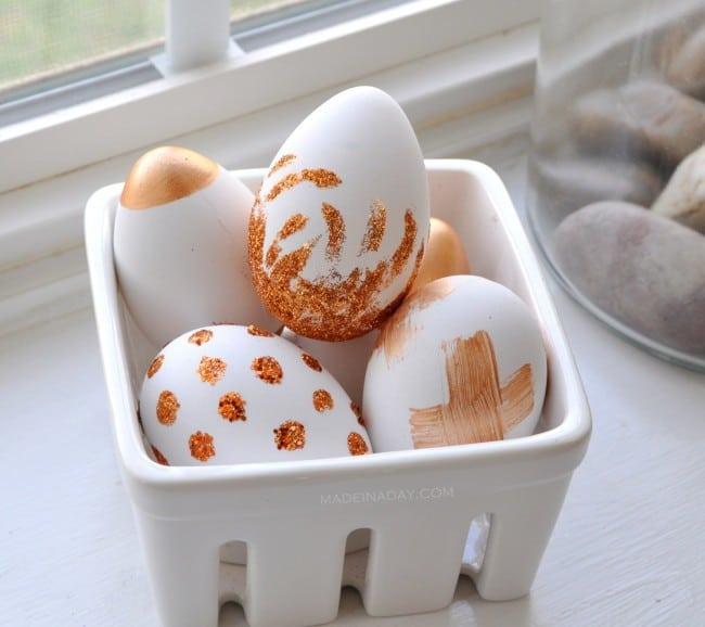 Copper Glitter Easter Eggs madeinaday.com