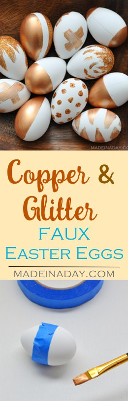 Painting Faux Easter Eggs with Metallic Copper acrylic paint and dipped in glitter! Super easy craft for Easter. Color block eggs, glitter eggs,