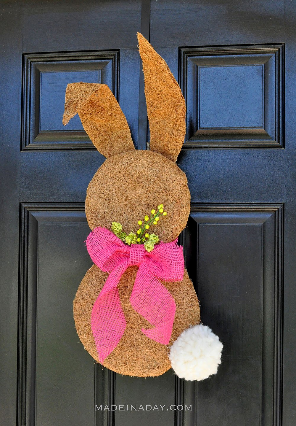 rabbit wreath, easter wreath, bunny door hanger, moss wreath, moss easter bunny, easter pom pom wreath,