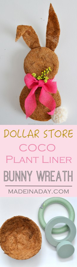 Dollar Store Easter Bunny Wreath made with Plant Coco Liner, Clover Jumbo Pom maker, Pink burlap ribbon, easy craft, Easter home decor