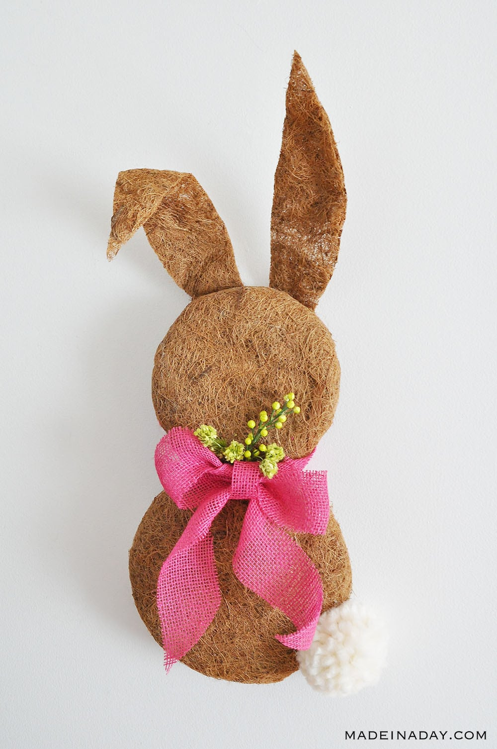 Bunny Easter Wreath, Bunny door hanger, bunny wreath from coconut fiber,