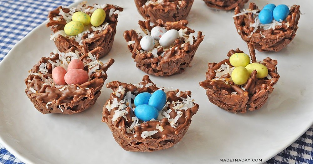 Bird nest dessert, chow mein nests, no bake easter treats, bird nest recipe Chinese noodles