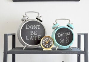 Faux Antique Chalkboard Alarm Clock madeinaday.com