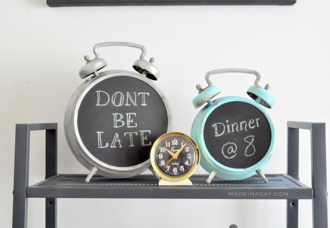 Faux Antique Chalkboard Alarm Clock madeinaday.com