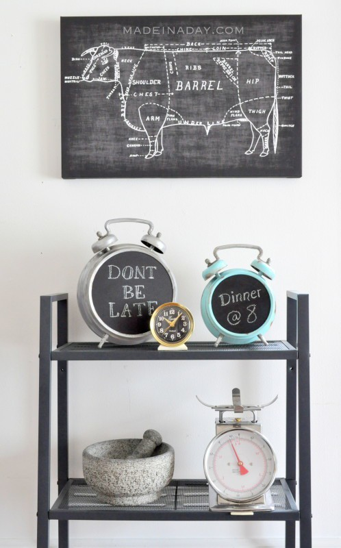 Faux Patina Alarm Clock Chalkboard madeinaday.com