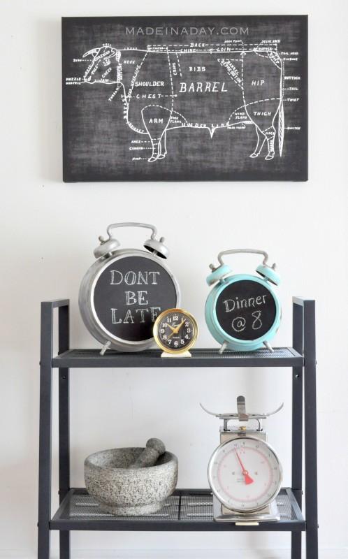 Faux Patina Alarm Clock Chalkboard madeinaday.com