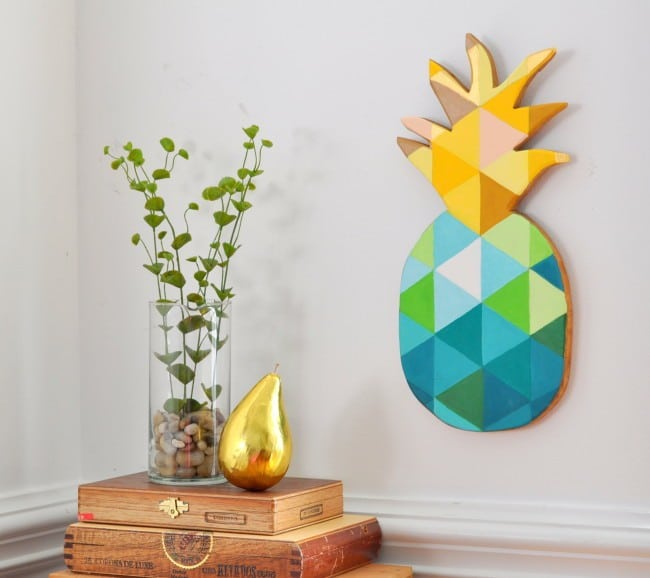 How to Paint a Geometric Pineapple on Wood madeinaday.com