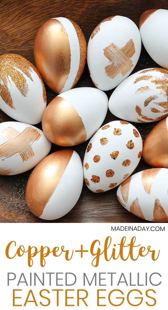 How to Make Metallic Copper Painted Eggs and dip in glitter! Metallic Easter eggs, copper eggs, sparkly Easter eggs, glitter eggs, modern Easter eggs, Color block eggs, glitter eggs, #easter #copper #metallic #crafts #eastercrafts