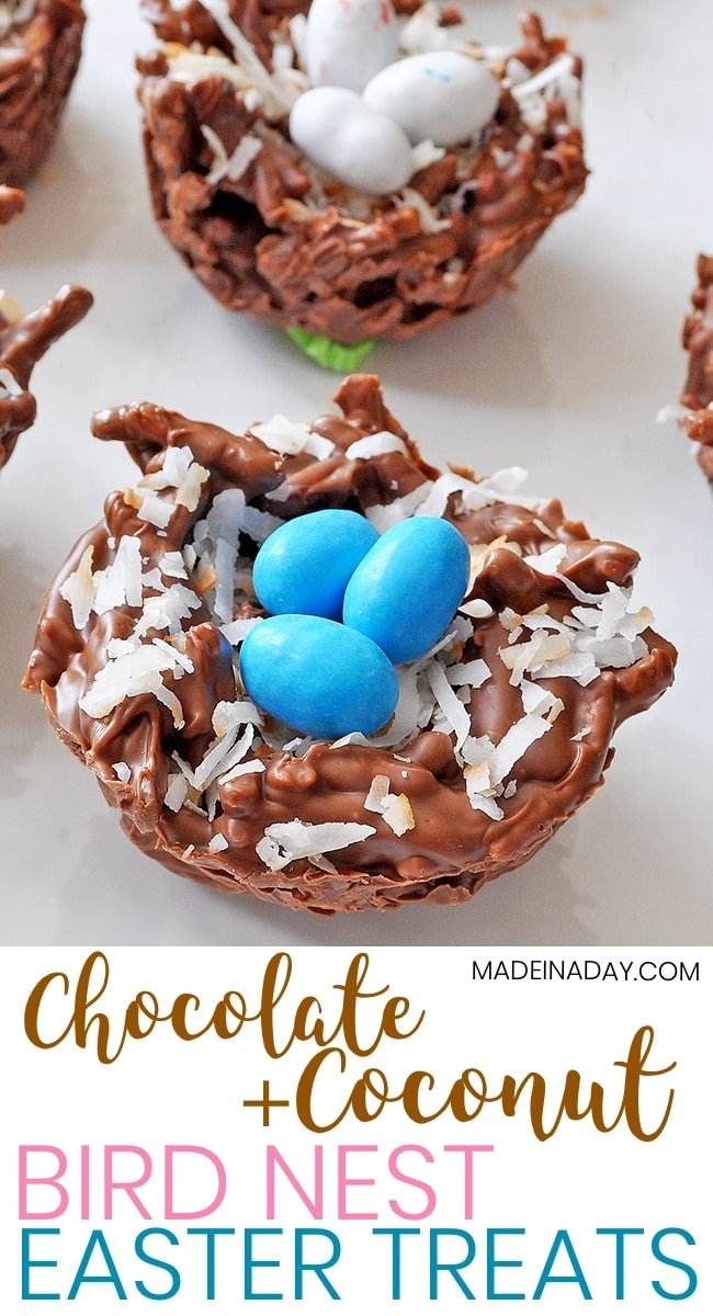 Chocolate Coconut Bird Nests Simple No-bake Recipe, Kid-friendly recipe. Malted Robin Eggs, Chow Mein Noodles chocolate treats, sweetened coconut. #easter #birdnest #candy #recipe