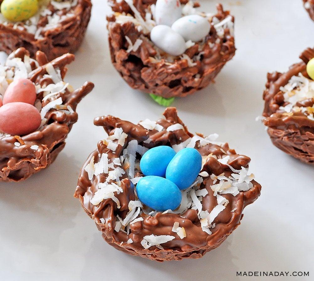 coconut bird nest recipe, chocolate bird nest, Chinese noodle candy, bird nests recipe