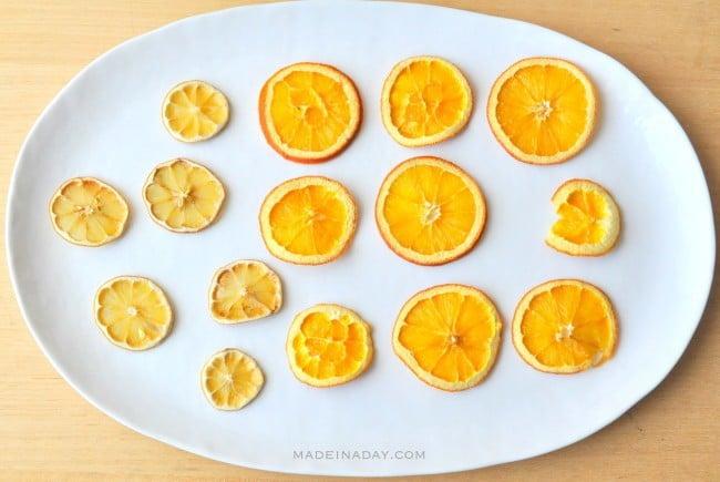 Oven dried orange lemon slices madeinaday.com