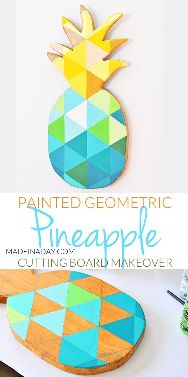 DIY Painted #Geometric #Pineapple, learn to paint a geometric pattern on a wood cutting board for DIY Spring Refresh wall art, tutorial on madeinaday.com #tropical
