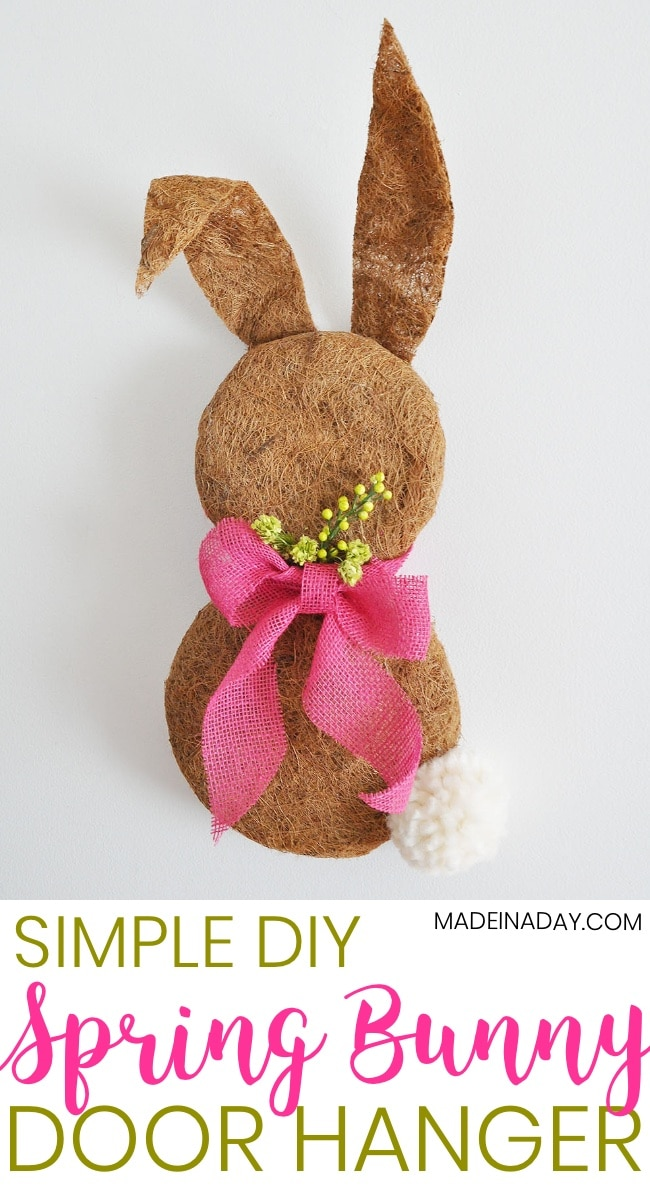 Dollar Store Easter Bunny Wreath made with Coco Liners, Clover Jumbo Pom maker, Pink burlap ribbon, easy craft, door hanger, spring wreath, Spring Door hanger, Easter home decor #easter #bunny #spring #Springwreath Simple Spring Bunny Door Hanger