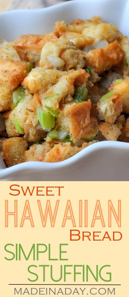 Sweet Hawaiian Bread Simple #Stuffing, A simple base stuffing made with King's Hawaiian Classic Stuffing mIx. Thanksgiving #dressing, turkey dinner, #holiday stuffing