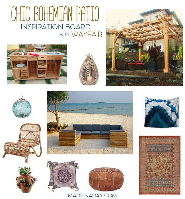 Chic Bohemian Patio Spring Inspired by Wayfair #sponsored, create a beautiful outdoor space that makes you feel like you are on vacation, Pergola, outdoor bar, tapestry, rattan and more! See my pics on madeinaday.com