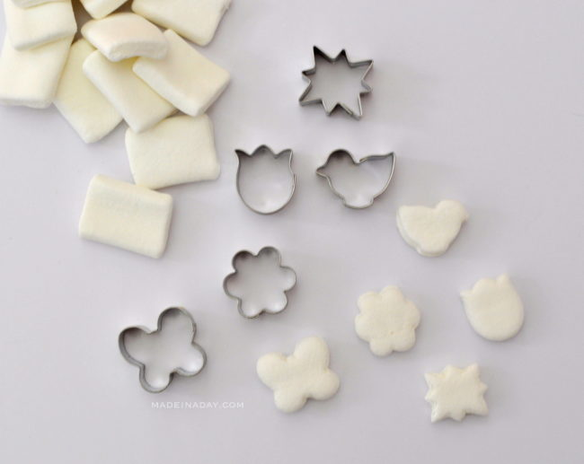 Cut Marshmallows into shapes with mini cookie cutters madeinaday.com