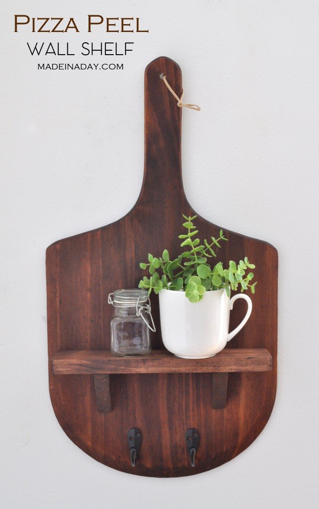 Pizza peel wall shelf made in a day