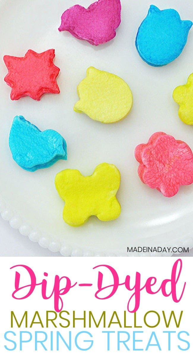 How to Dip Dye Marshmallows with Food Coloring, Cut marshmallows with mini cookie cutters and dip dye them for a fun sweet treat! food coloring marshmallows, #marshmallow #easter #recipes #dipdye