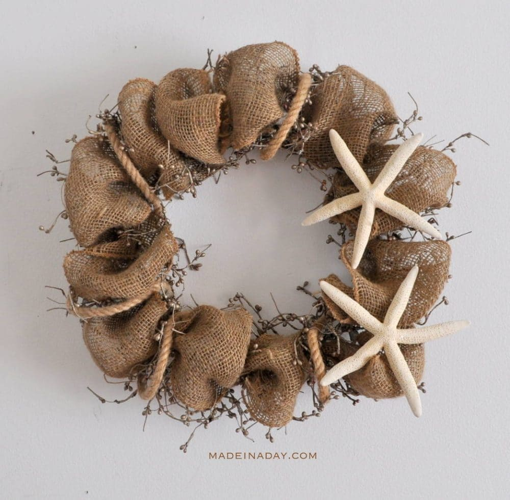 Holiday Wreath Upcylcle to Starfish Burlap Wreath madeinaday.com