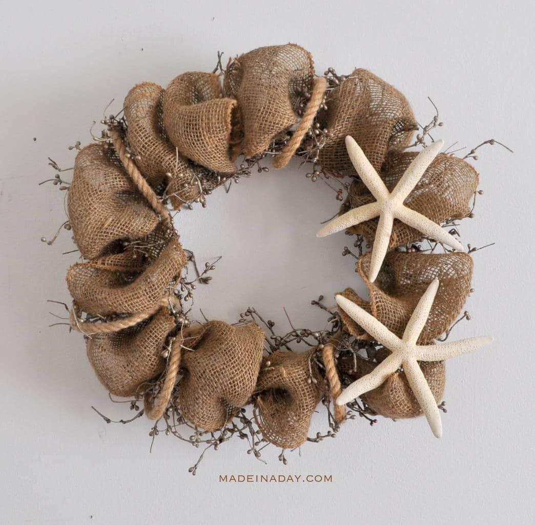 Starfish Rope Burlap Wreath