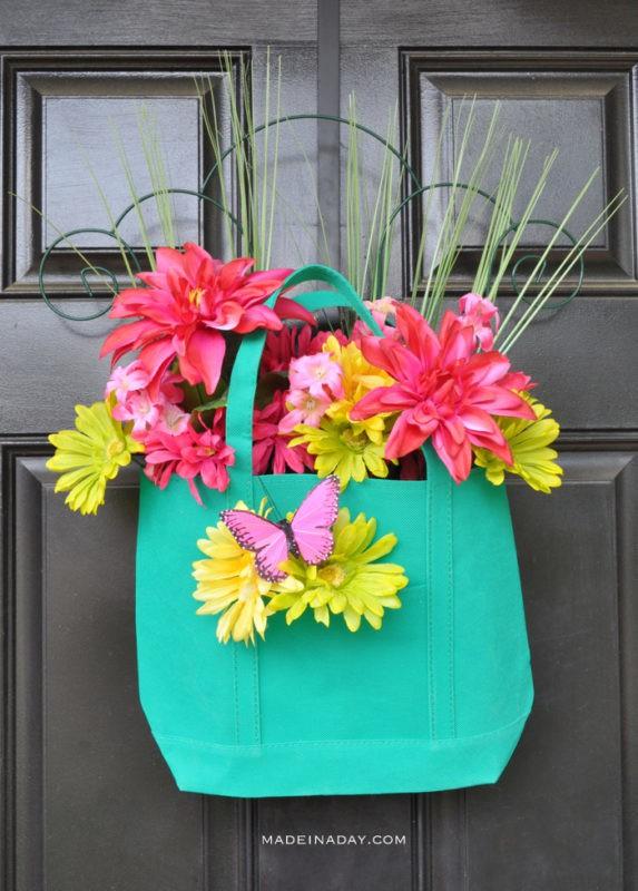 Spring Floral Teal Tote Door Hanger madeinaday.com
