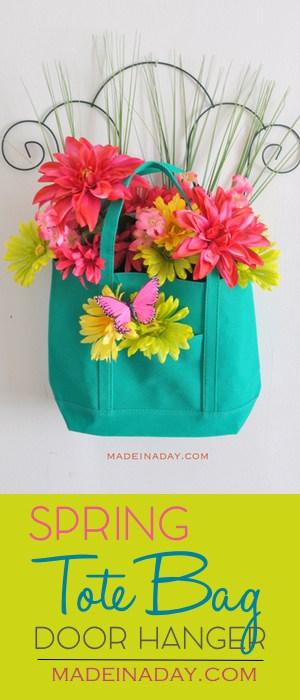 Spring Floral Tote Bag Door Hanger, dollar store floral arrangement for under $10, teal floral arrangement, pink flowers, garden trellis, easy DIY, see the tutorial on madeinaday.com