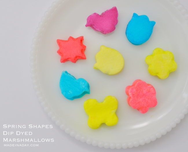 Spring Shapes Dip Dyed Marshmallows madeinaday.com