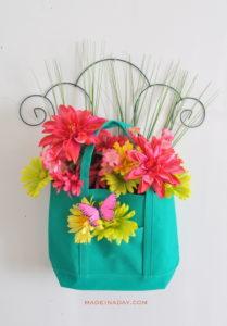 Spring Teal Pink Door Hanger
