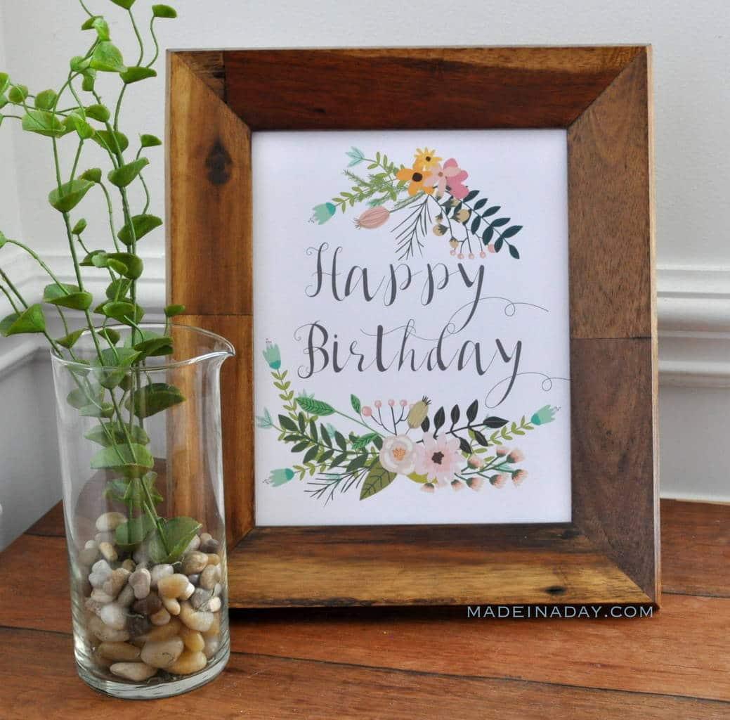 Botanical Flowers Happy Birthday Free Printable madeinaday.com