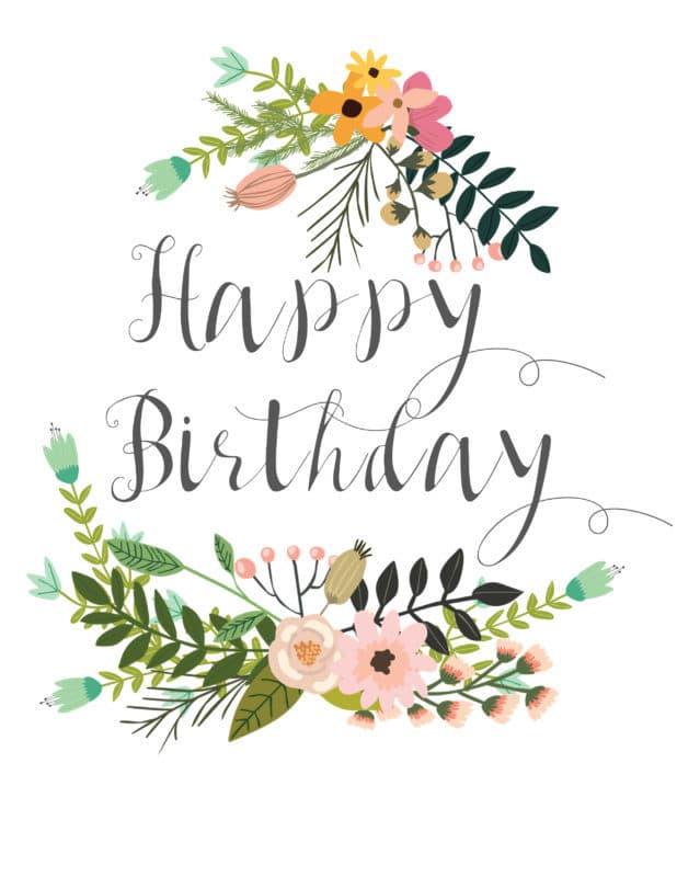 Botanical Happy Birthday Free Printable madeinaday.com