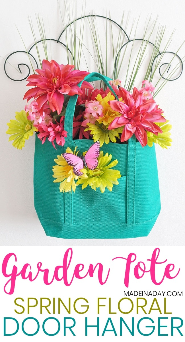 Spring Garden Floral Tote Door Hanger, dollar store floral arrangement for under $10,