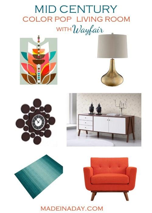 Mid Century Color Pop Living Room Blogger Picks on madeinaday.com