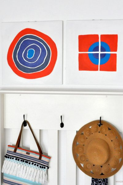 Orange & Navy Wall Art Upcycle Makeover