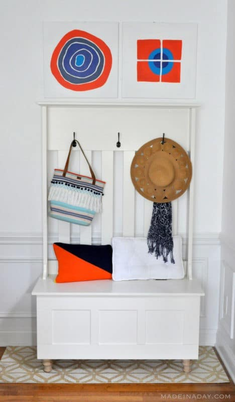 Orange Blue Home Decor Entryway Makeover Upcycle madeinaday.com