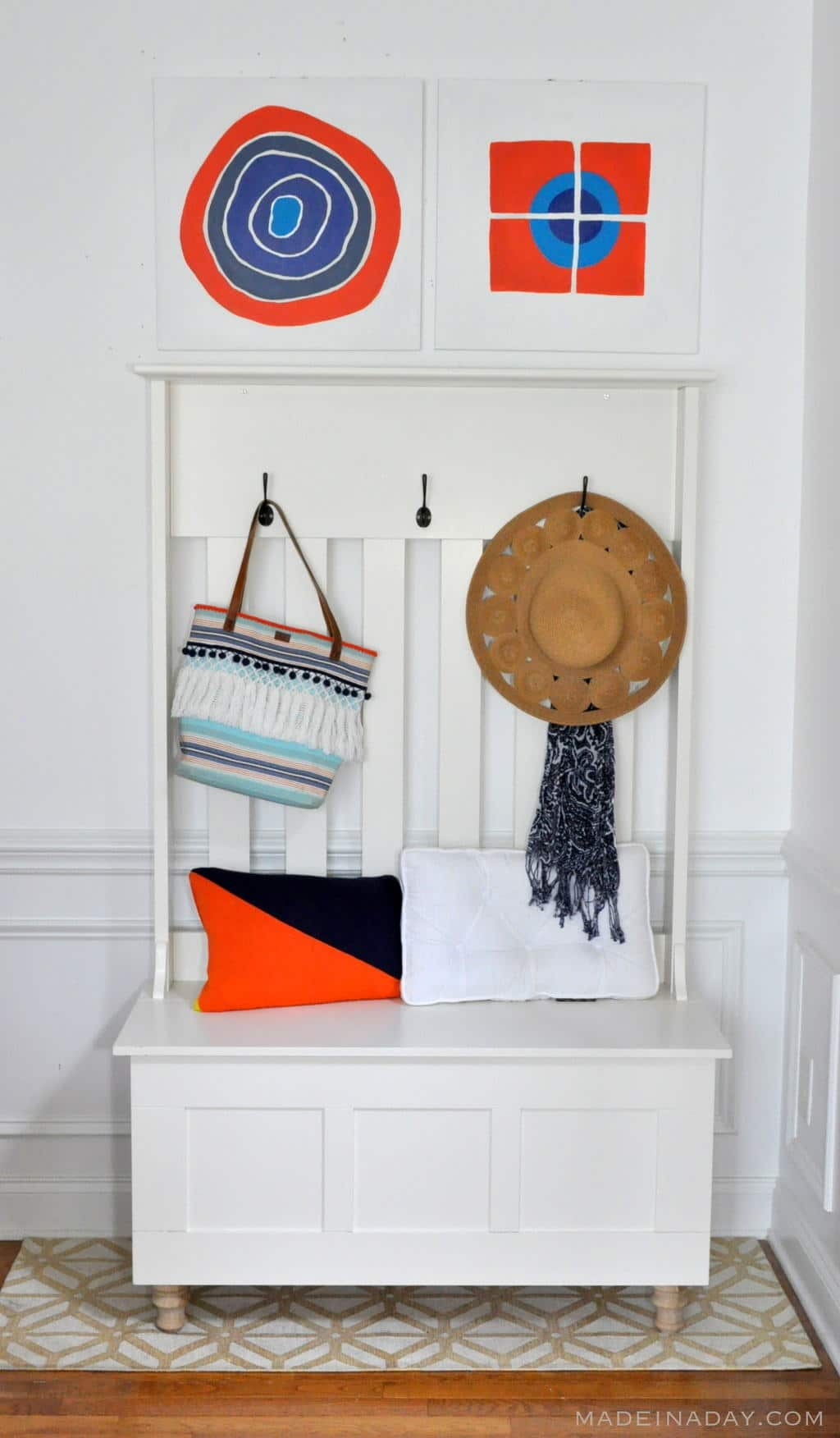 Orange Blue Home Decor Entryway Makeover madeinaday.com